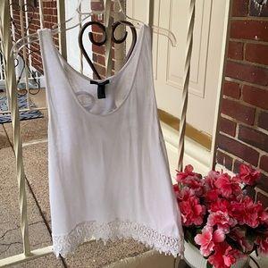 Forever 21 White Bohemian Crochet Sheer Tank Top, Size Medium